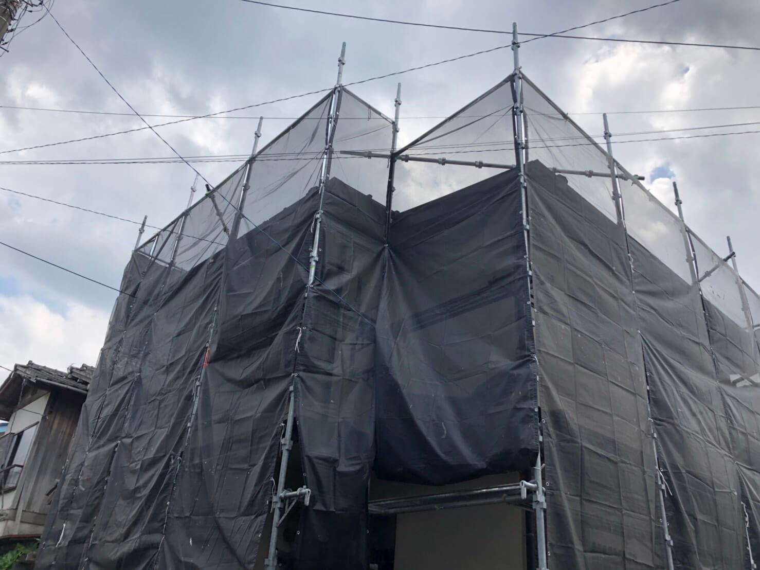 外壁塗装施工前足場架設